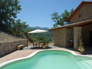 Fantastic farmhouse in ideal Tuscany location, features stone Roman bath, private pool, garden and terrace