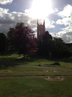 St.Edmundsbury Cathedral overlooking the ruins in the Abbey Gardens