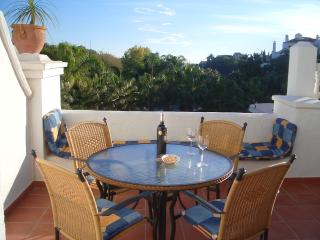 South facing terrace, all day sun, views of sea, tropical gardens and pools!