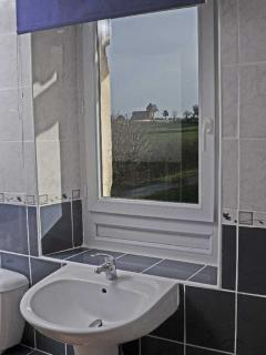 View of the village through the bathroom window