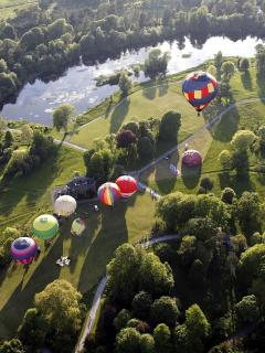 Birr Castle Demesne, balooning festival above the lake