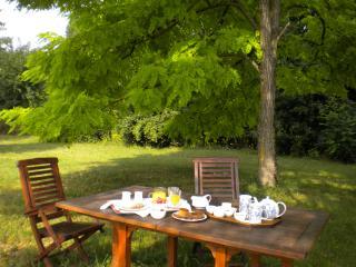 Petit déjeuner bio à l'ombre des acacias.