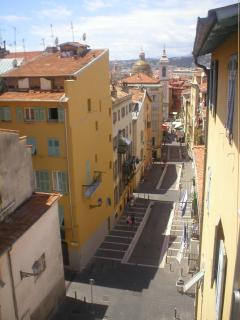 View from the balcony to the Rue Rossetti