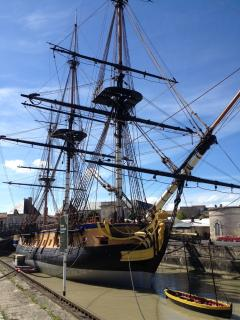 Hand built ship the 'Hermione' in Rochefort