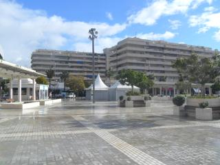 The front view of the building. Antonio Banderas plaza.