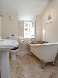Bathroom with slipper bath and separate shower