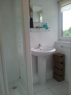 Ensuite shower room with toilet and basin located off twin bedroom.