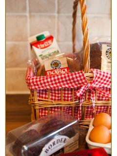 Hamper - eg. Bread, milk, welsh butter, fresh orange, luxury biscuits, Bara Brith, eggs something fo