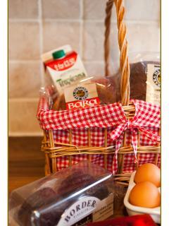 Hamper - eg. Bread, milk, welsh butter, fresh orange, luxury biscuits, Bara Brith, eggs something fo