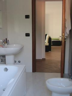 Bathroom 1, with jacuzzi bath, shower and bidet