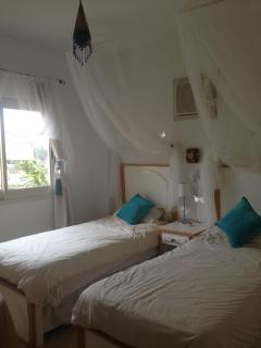 The Twin Bedroom- The Twin Bedroom with stairs to Roof Terrace just outside door