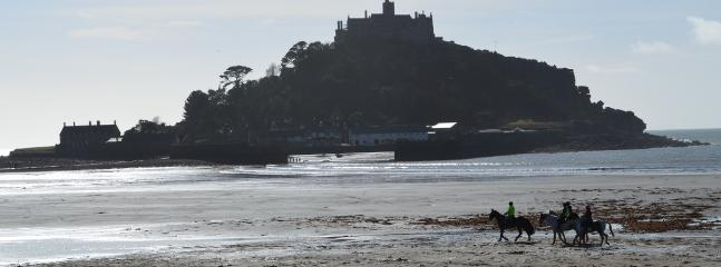 St. Michael's Mount at low tide, photo taken 30m from house