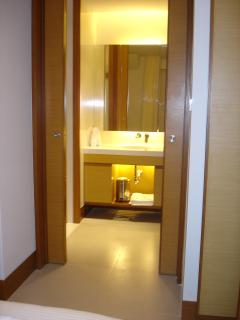 The en suite with the shower to the right and the toilet to the left