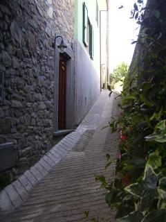 The front door on the ground floor and the narrow street full of colourful flowers.