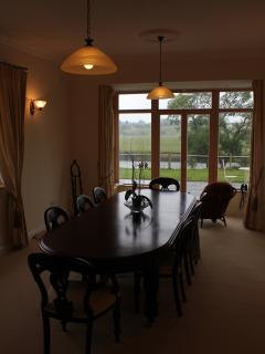 The Dining Room with Patio, river and castle views