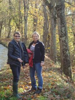 Autumn visitors enjoying a stroll on a local canal - built for the Napoleonic farmers and still used