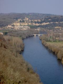 The view back along the Dordogne river to Chateau Beynac from Castelnaud