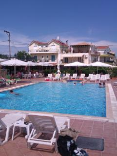 POOL FROM THE HOTEL ACROSS THE APARTMENTS