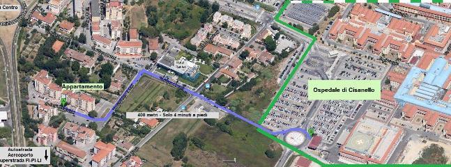 mappa con indicazione itinerario per arrivare all'ospedale o all'autobus