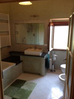 Main bathroom with bathtub and shower