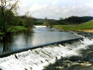 The weir at Linton Falls from the footbridge.
