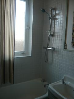 Bathroom with overbath mixer shower