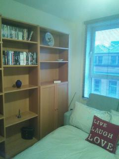 Second bedroom with bookcases, TV DVD etc