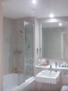 Family bathroom with shower over bath.