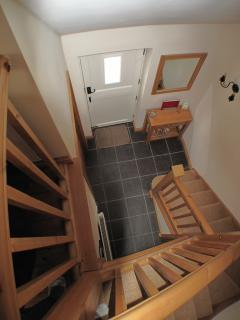 Dog leg Staircase and Front Entrance.