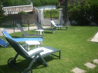 sun bed area of garden