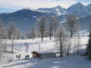In winter, the cross-country skiing pistes and walking paths are right outside Haus Heidi