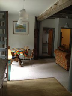 Spacious living area with tv, dvd, small library of books, maps of the local area, dvds and games