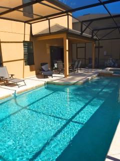 Pool & Patio area with Dining Table & Loungers