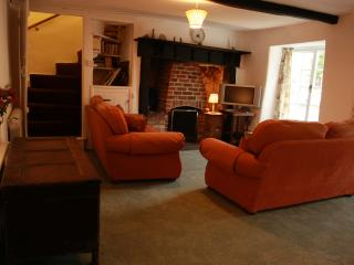 The lounge with open fireplace