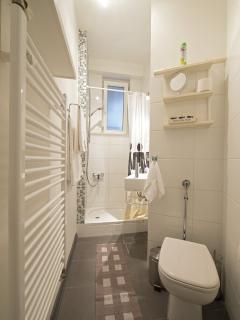 The bathroom is not big, but it is neat and equipped with all you need