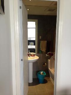 toilet with big mirror