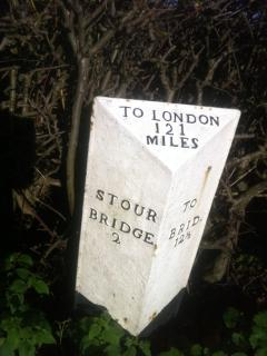An aged Milestone just around the corner (Just to let folks how far London is)