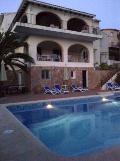 Villa has Pool lighting - enjoy the spectacular sunsets over the mountains