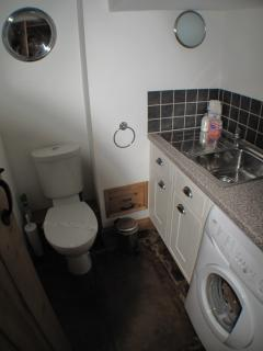 Utility with Washing Machine and Down Stairs Toilet.