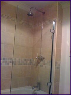 Shower over bath in bathroom