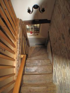 Very Old Elm Staircase looking from the Bedroom Landing.