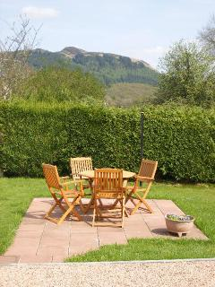 Back garden with views towards Menteith Hills