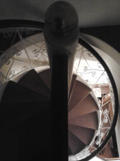 stairs between livingroom and bedrooms