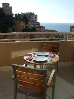 Al fresco dining on the terrace with Mediterranean sea view