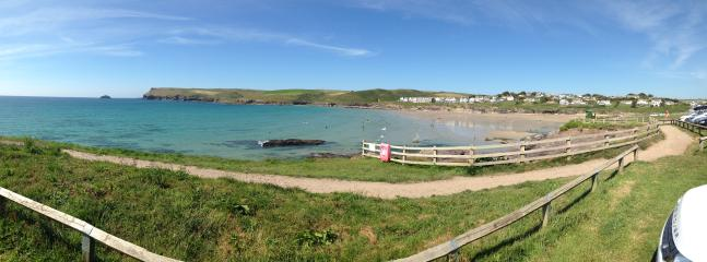 Polzeath beach from the cliffside. Park here or on the beach.