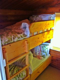 Traditional wooden bunks - very popular with our young guests