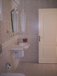 huge marble and fullly tiled wetroom - shower (not in view) takes up half the room