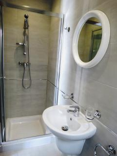 Ensuite with shower, hand basin and toilet