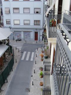 View on to street from apartment
