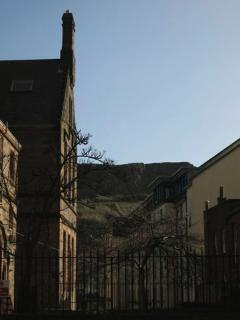 The adjacent street view to Salisbury Crags.